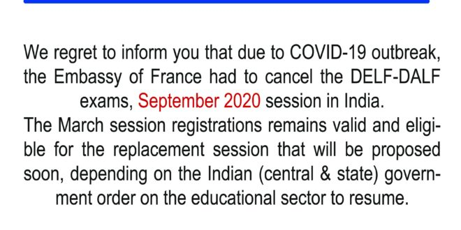 DELF DALF September 2020 session cancelled