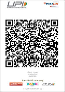 Alliance française of Madras_scan QR code for fee transaction