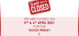 AFM Holiday on 2 & 6 April