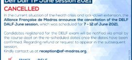 DELF DALF JUNE 2021 SESSION CANCELLED